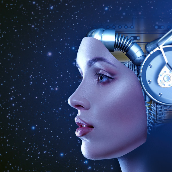 Cyber woman, abstract futuristic  female portrait with deep space as background