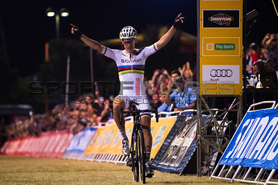 Winner of the UCI Men's race, and in solo fashion, Wout Van Aert.