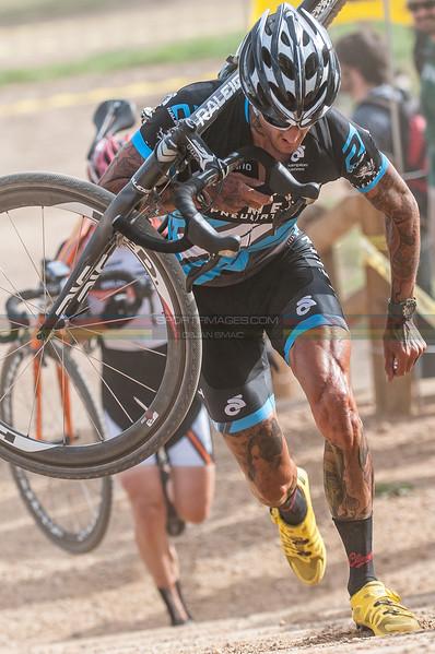 Boulder Cyclocross Series #1 - Valmont, Boulder, Colorado.  September 16, 2012. Pro 12. Ben Bergen and Allen Kroughof on the run up.