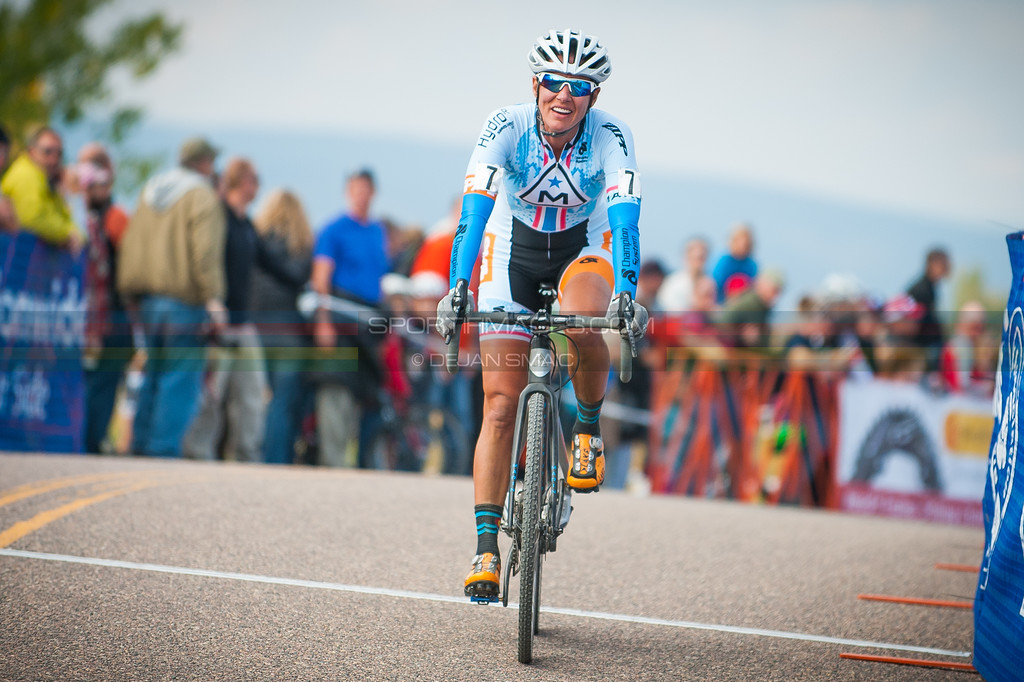 Nicole Duke (Marin) comes across the line for fourth at the Colorado Cup Classic.