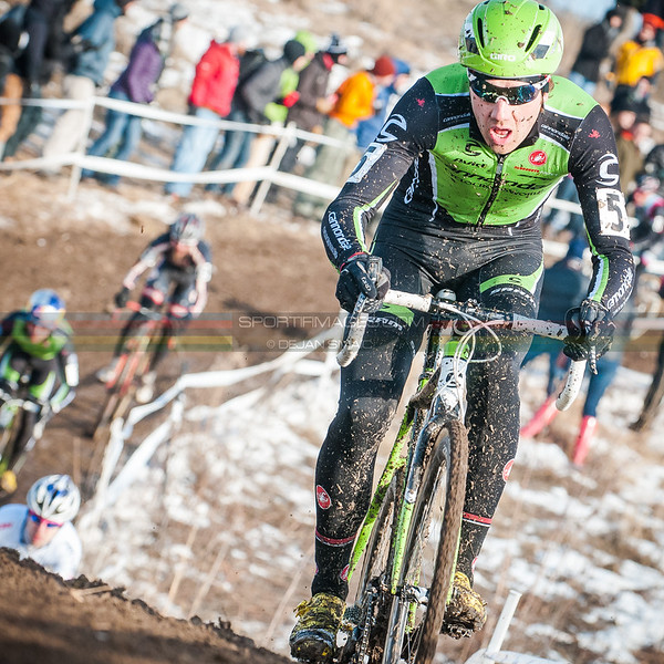 US National Cyclocross Championships | Elite Mens, Driscoll during the first lap on the descent before the barriers