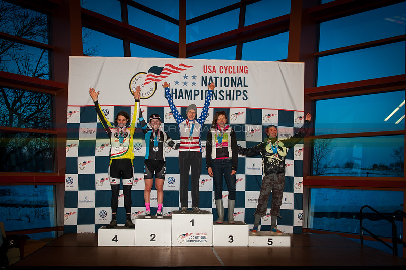 The womens singlespeed podium with the course as a backdrop. The awards ceromoney was held in the Verona Public Library. Top 3 podium finishers Kari Studley, Amber markey, and Ellen Nobel.