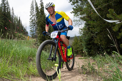 Mountain Bike National Championships - Non-Chmpionship race.  A rider makes his way up the climb.