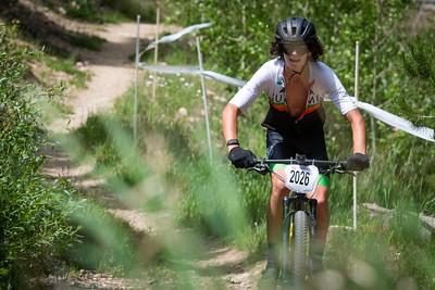 Mountain Bike National Championships - Non-Championship race.  A rider makes his way up the climb.
