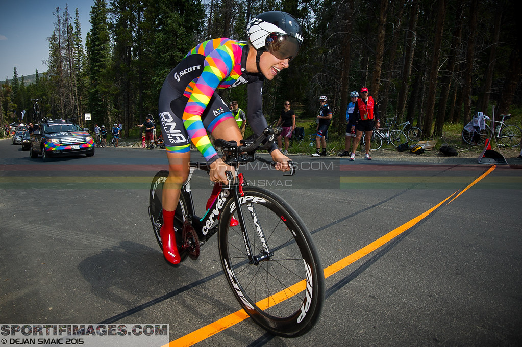 A DNA Cycling Team p/b K4 rider creasts the TT course and is about to make a fast descent down Boreas Pass Road to the finish.