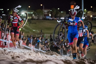 De Boer, Nash, and Compton hit the unridable sand pit during the early laps of the Women's race.