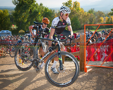 Ryan Trebon (Cannondale) and Mitch Hoke (Optum) cresting The 5280' Run-Up during teh opening lap of the race. Boulder Cup.  Boulder, Colorado. October 13, 2013