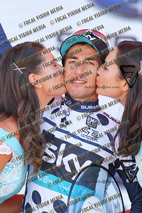 2016 Santos Tour Down Under . MAC Stage 6 Adelaide. Australia.Sunday 14/01/2016.Overall top 3 riders.Simon GERRANS (Aus) riding for Orica Green Edge Team (Aus) is the 2016 Overall Winner.Here is Sergio Luis HENAO (Col) for Tean Sky picked up King of the Mountain best classification.© ATP / Damir IVKA