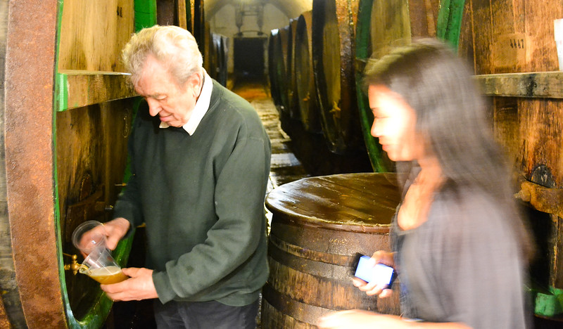 Sampling Unpasteurized Beer from the Barrel<br /> Pilsner Urquell Brewery<br /> Pilsen<br /> <br /> Photo:  Alex Acuña