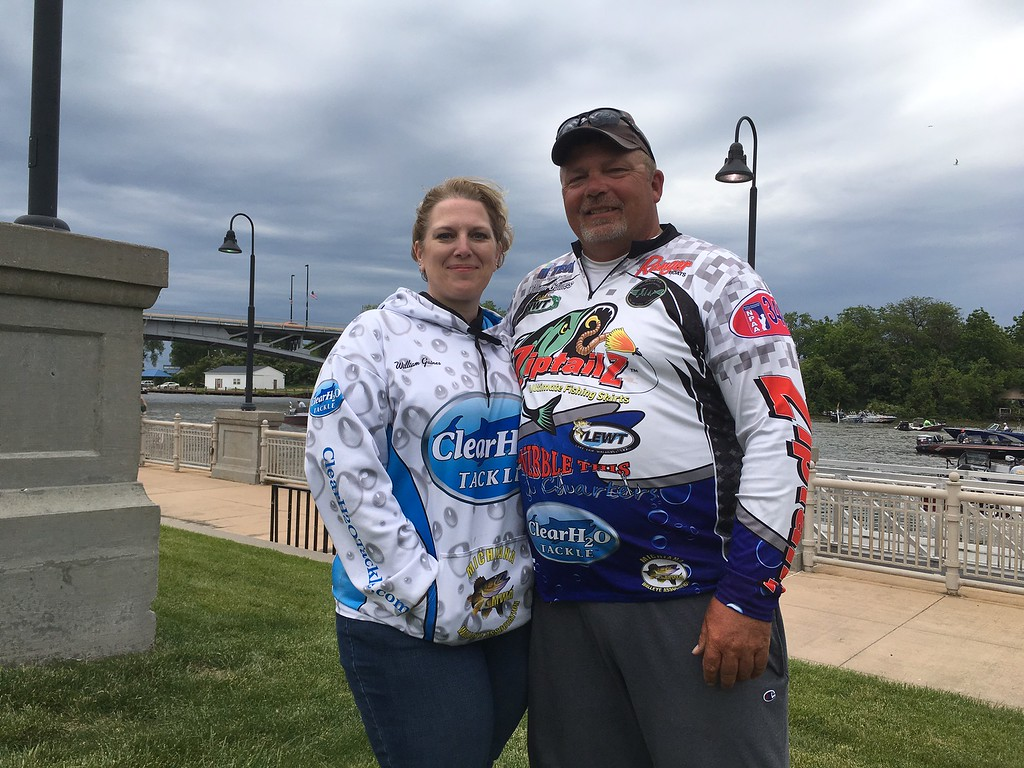 . Richard Payerchin � The Morning Journal <br> Angler William Gaines of Plymouth, Ind., stands for a photo with his new fiancee, Jodie Leasure, while taking a break from the Cabela\'s National Team Championship walleye tournament in Lorain on June 9, 2017. The day before, Gaines proposed to Leasure while on the weigh-in stage of the contest.
