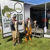Richard Payerchin — The Morning Journal <br> Anglers Jason Zsebik, left, and Tim Johnson of Vermilion hold up their catch on June 8, 2017, in the Cabela's National Team Championship walleye tournament in Lorain. The three-day contest continues June 9 and 10.
