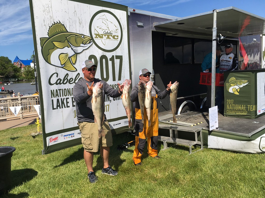 . Richard Payerchin � The Morning Journal <br> Anglers Jason Zsebik, left, and Tim Johnson of Vermilion hold up their catch on June 8, 2017, in the Cabela\'s National Team Championship walleye tournament in Lorain. The three-day contest continues June 9 and 10.