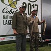 Richard Payerchin — The Morning Journal <br> Anglers Dan Smith of Avon, left, and Joe Zelei of Clinton pose for photos with their catch at the Cabela's National Team Championship walleye tournament in Lorain on June 9, 2017.