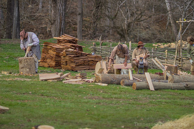 Cabin Raising at David Crockett Birthplace State Park 3/26/17 Day 3