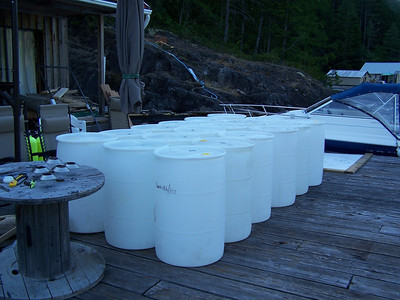 Additional barrels - altogether we added 42 barrels and 4 cubes for additional buoyancy.