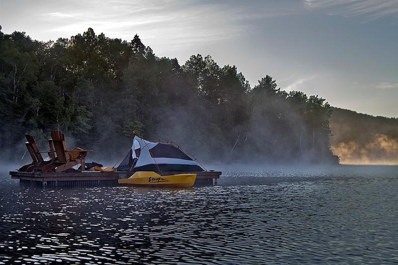 Camping on the dock<br /> Lac à la Perchaude<br /> July 31, 2011