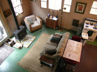 View of the living room from the loft