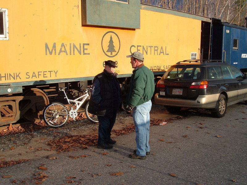 Conductors: Caboose Conductor Ben has a job briefing with the Hobo RR's Conductor  Bobby before their trip on Sunday.