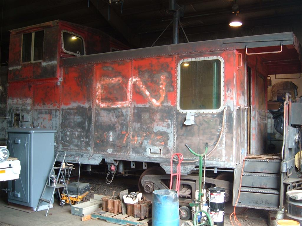 "Sanded down in preparation for painting: Work being done at the Hobo Railroad in Lincoln Fall of 2007. Not an easy job!  <strong>See more in: <A HREF=""/Caboose-Trains-and-Our-Caboose/Rutland-51-Our-Caboose/Caboose-at-Lincoln-Shops/8477566_Xv6gi"">Caboose at Lincoln Shops</A></strong>"