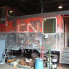 Sanded down in preparation for painting: Work being done at the Hobo Railroad in Lincoln Fall of 2007. Not an easy job!