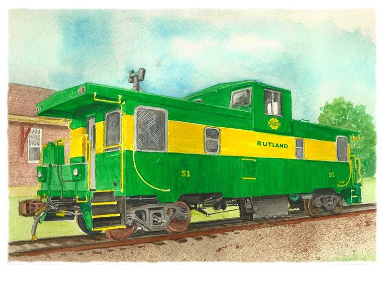 Watercolor Of Caboose Done For Book