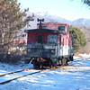 White Mountains Over The Caboose: Caboose sits in the fresh cold air of the white mountains.