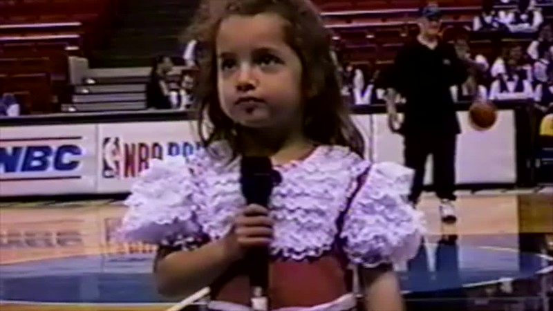 1995 - Thea singing NA at Magic game