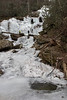 3 ice climbers up on the frozen Catawba Falls