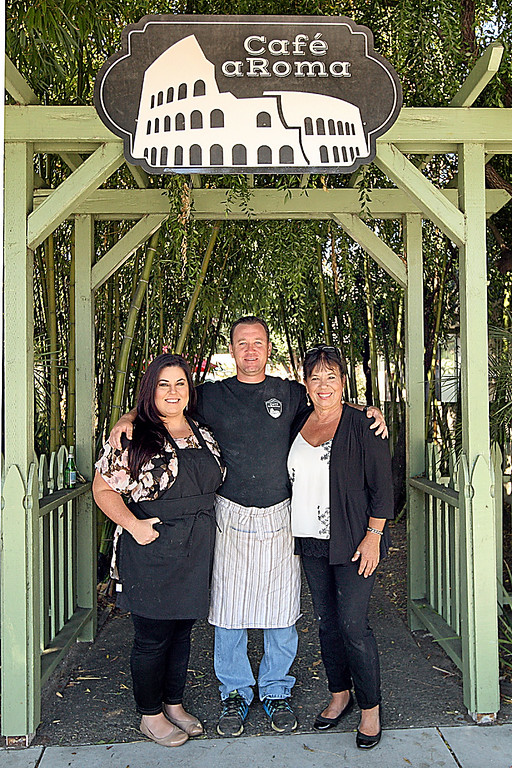 . Ami Gonzales, Rob Petruzzi, and Laurie Petruzzi of Cafe aRoma in downtown Soquel. (Dan  Coyro -- Santa Cruz Sentinel)