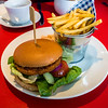 Spicy Bean Burger and Chips at Ruby Mae's Diner, Beaumaris, Anglesey, Wales