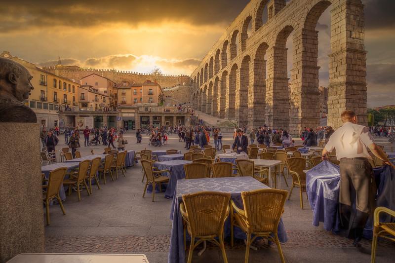 Cafe At Roman Aqueduct, Segovia Spain