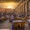 Cafe At Roman Aqueduct, Segovia Spain