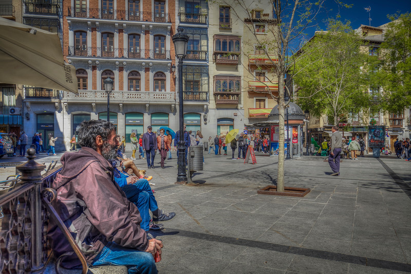 Man On Bench, Square In Madrid Spain