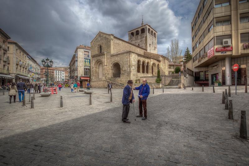 Conversation In Square, Segovia Spain