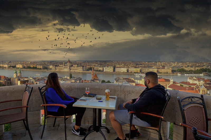 Couple Looking Out Over The Danube, Budapest Hungary