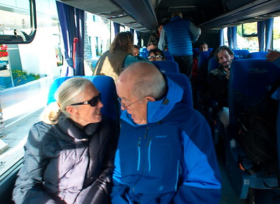 Jane Goodall and Roger Payne having fun on a crew bus in Patagonia Argentina
