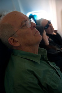 Rober Payne and Jane Goodall on flight to Patagonia Argentina