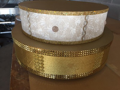 "22"" Two Tier Gold Bling Stand with 18"" top. Rental $50"
