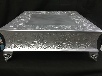 "18"" Square Flat Silver Metal 6"" tall. Rental $30"