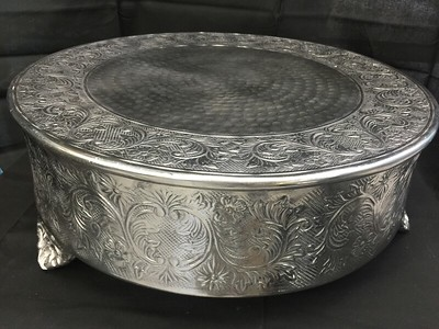"18"" Diameter Silver 6"" Tall.  Rental $30"
