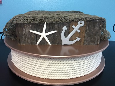 "26"" Diameter Two Tier 12"" Tall Custom Rose Gold Nautical with Rope, Aged Wood Box. Rental $75"