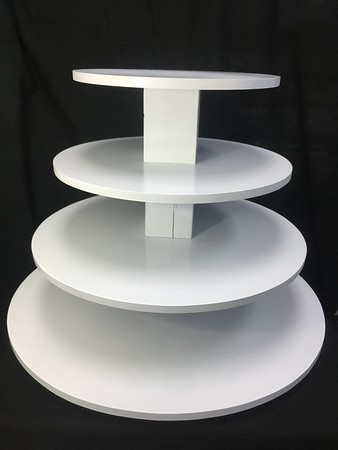 "4 tier Cupcake Tower White with 26"" Bottom and 10"" Top Holds 8"" cake and 85+ Cupcakes. Rental $30"