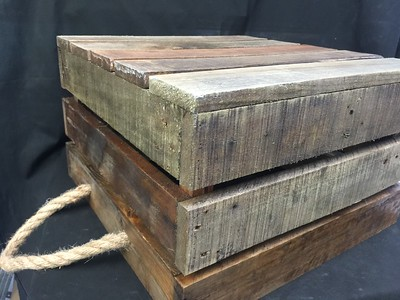 "Weathered Wood Crate with Rope Handles 17"" wide, 17"" deep, 10.5"" tall. Rental $20"