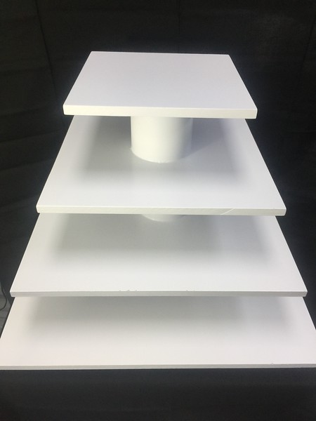 """4 Tier Square Cupcake Stand 22"""" Bottom and 10"""" Top.  Can Hold up to a Two Tier Cake and 60 Cupcakes.  Rental $30"""