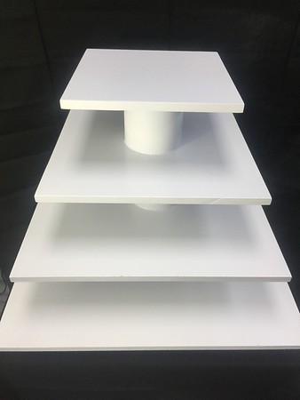 "4 Tier Square Cupcake Stand 22"" Bottom and 10"" Top.  Can Hold up to a Two Tier Cake and 60 Cupcakes.  Rental $30"