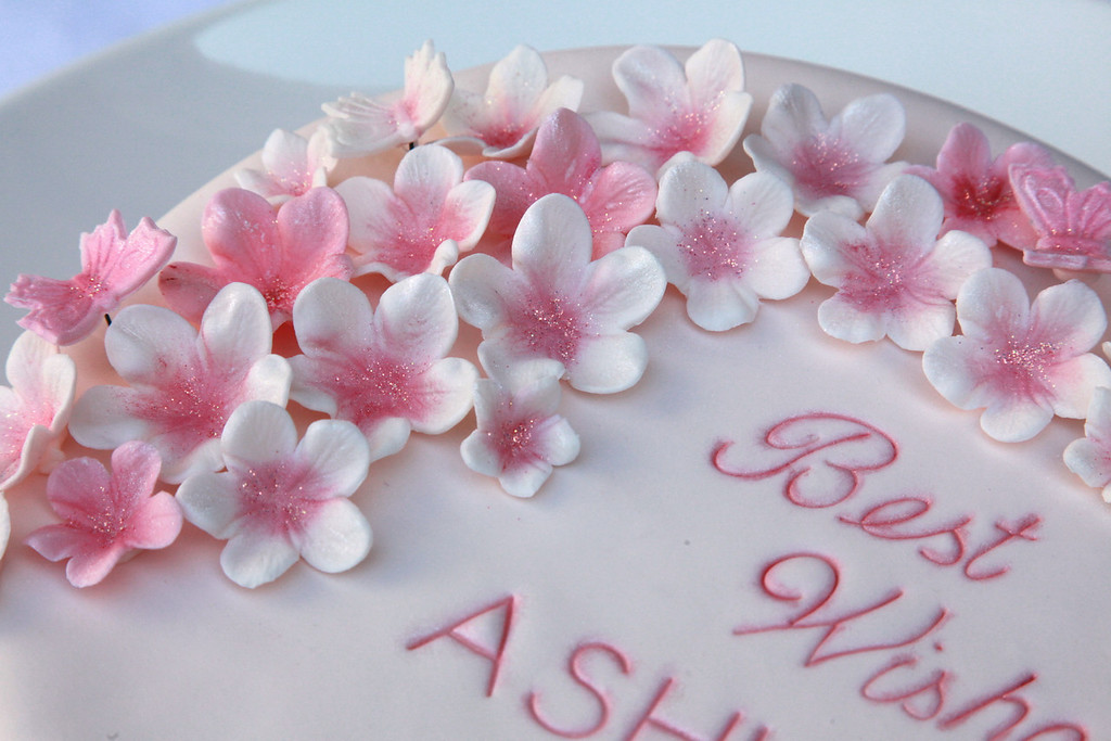 """All the sugarpaste flowers and butterflies were cut out, embossed, allowed to dry, then painted with edible colour and shimmer. Sugar butterflies were put on a wire to """"float"""" above the flowers."""