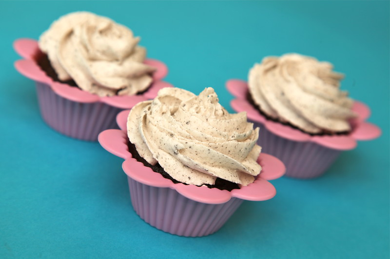 Chocolate Oreo cupcake with cookie crumb buttercream icing!
