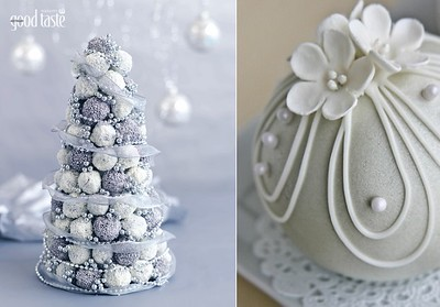 Christmas Truffle Tree (left) recipe by Michelle Southan, pic Ben Dearnley from Taste.com.au and (right) Christmas bauble cake by emma-lee design.com