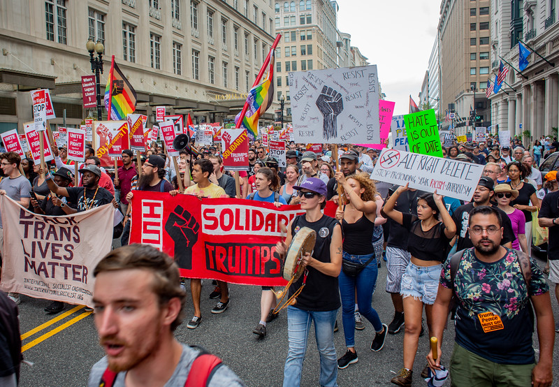 Washington, DC - August 12: Counter protesters gather in downtown Washington to counter a white nationalist rally, Sunday August 12, 2018.