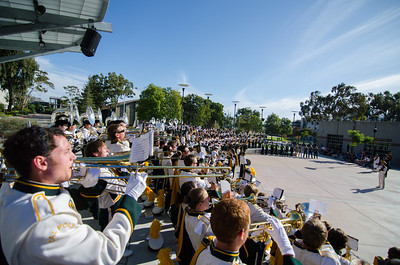 The Pride of the Pacific, the Mustang Marching Band performs before the 2012 Golden Horseshoe game against UC Davis. Sep. 22, 2012. Photo by Ian Billings